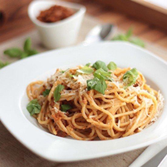 Rezept Spaghetti mit Tomatenpesto