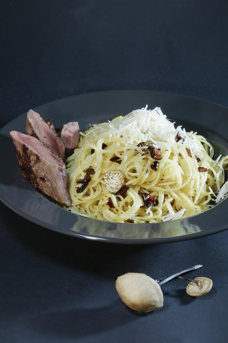 Rezept Spaghetti, Saitenstieliger Knoblauchschwindling e olio