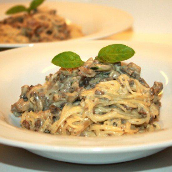 Rezept Spaghettini mit Pilzen und Rinderhack