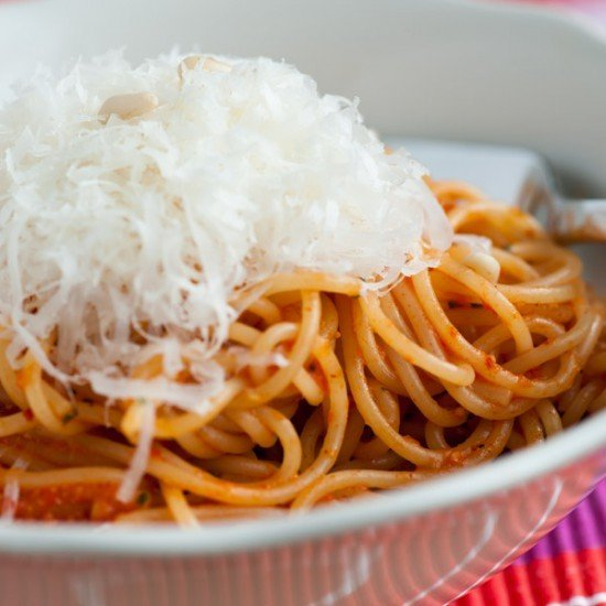Rezept Spaghettini mit rotem Pesto von gerösteter Paprika