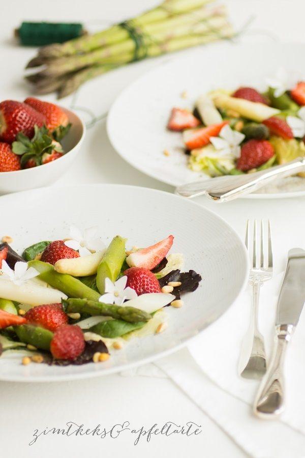 Rezept Spargel-Erdbeer-Salat mit Pinienkernen
