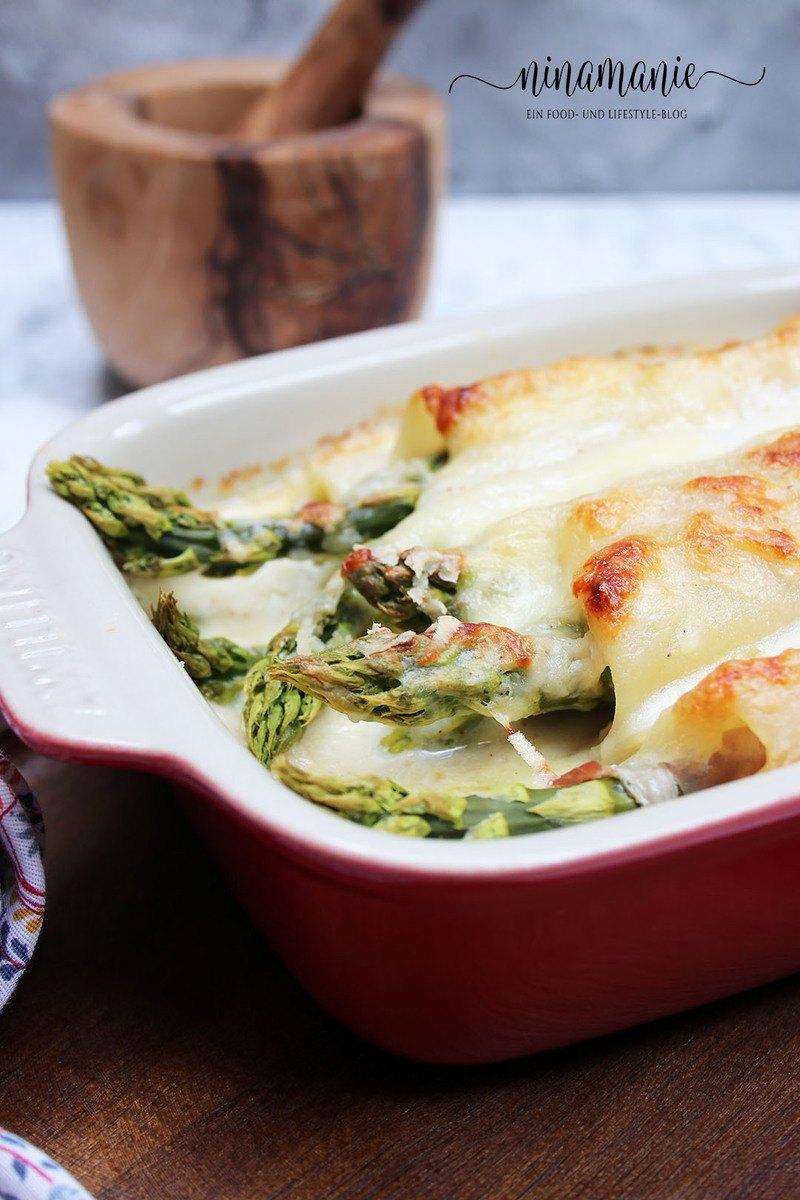 Rezept Spargel-Lasagne-Röllchen mit Schinken und Béchamel