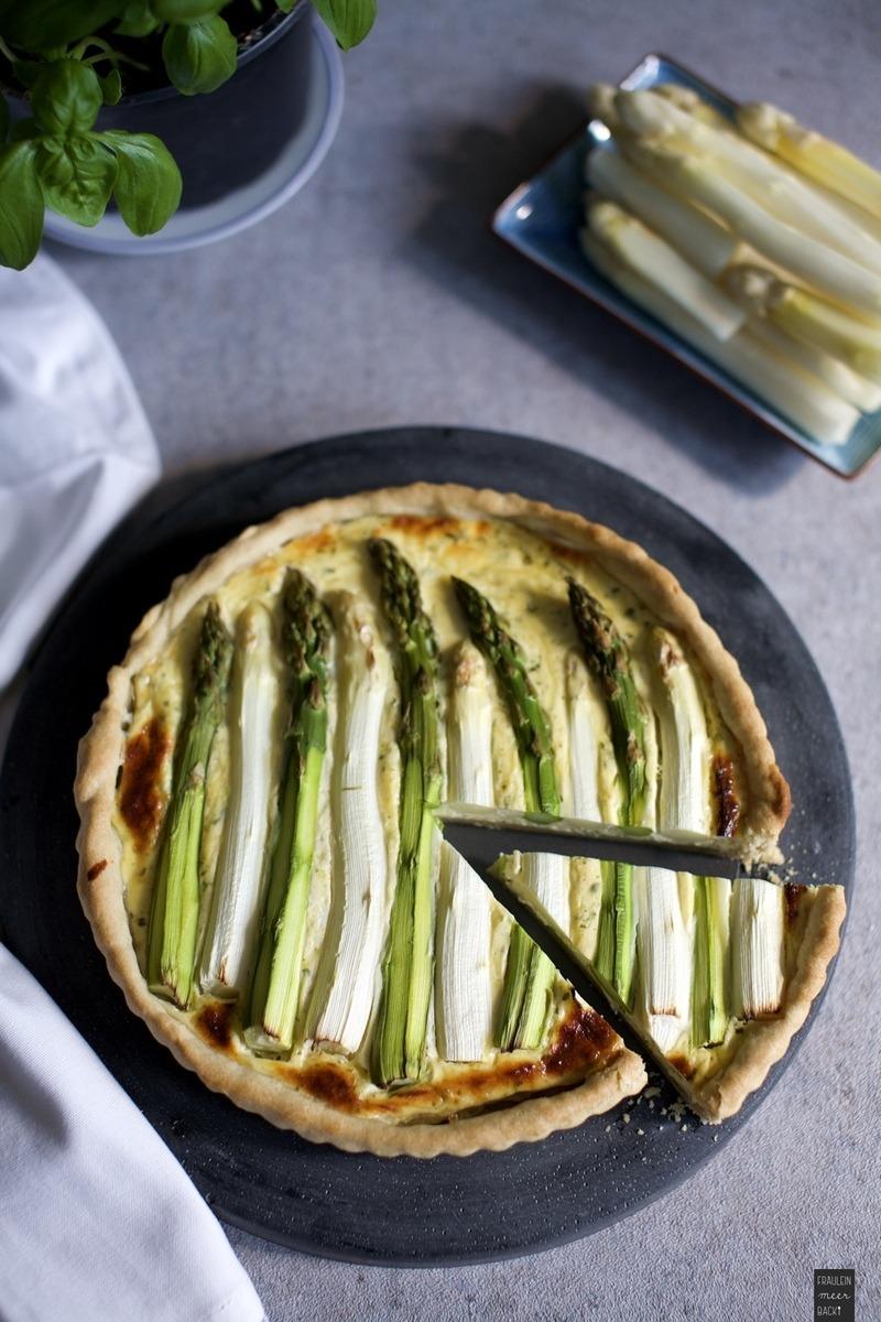 Rezept Spargel-Tarte mit grünem und weißem Spargel