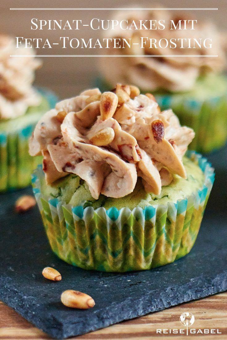 Rezept Spinat-Cupcakes mit Feta-Tomaten-Frosting