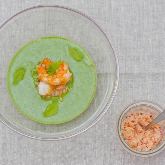 Rezept Spinat-Kokos-Suppe mit Kokos-Paradieskorn-Chutney