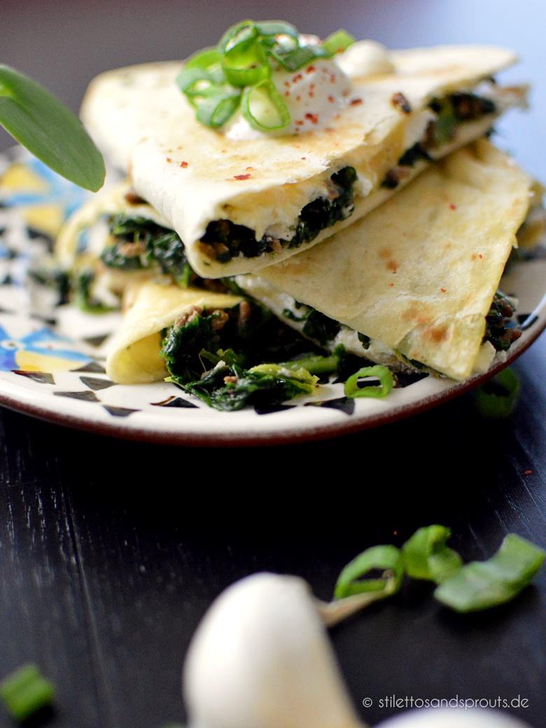 Rezept Spinat-Quesadillas mit Hackfleisch und Feta