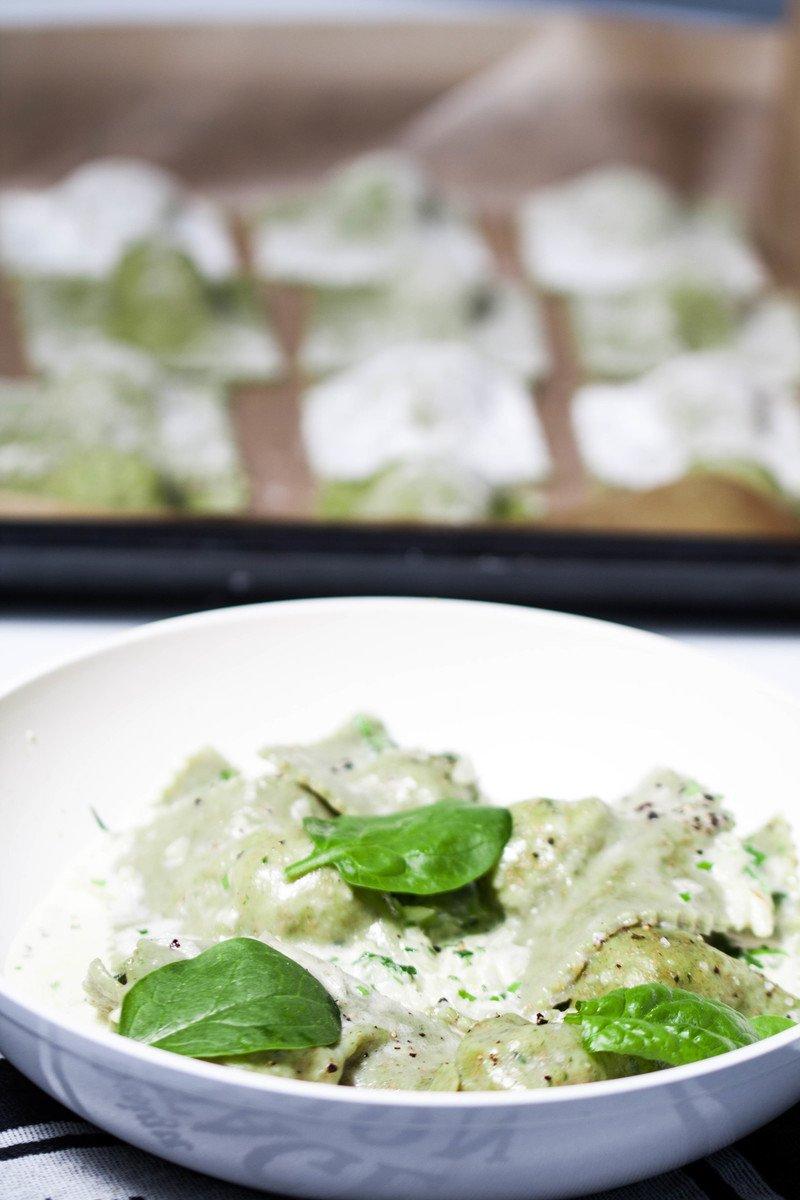 Rezept Spinat-Ravioli mit Putenhackfleisch