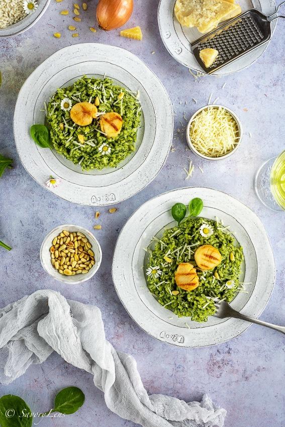 Rezept Spinat-Risotto mit Jakobsmuscheln