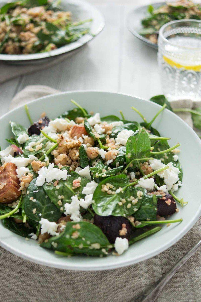 Rezept Spinatsalat mit gerösteter Rote Bete und Kichererbsen