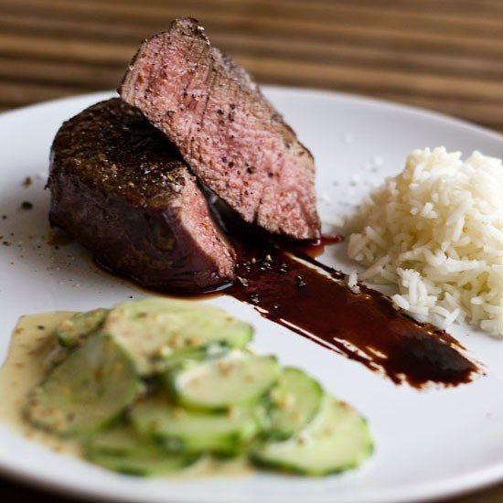 Rezept Steak Teriyaki mit Sesam Gurken Salat und Reis