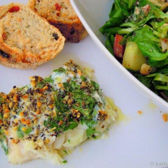 Rezept Steinbeißerfilet mit Kräutern und buntem Salat