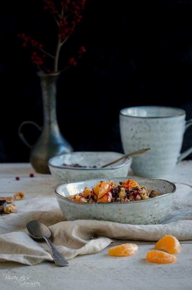 Rezept Süßes Couscous Frühstück mit Mandarine und Kakaonibs