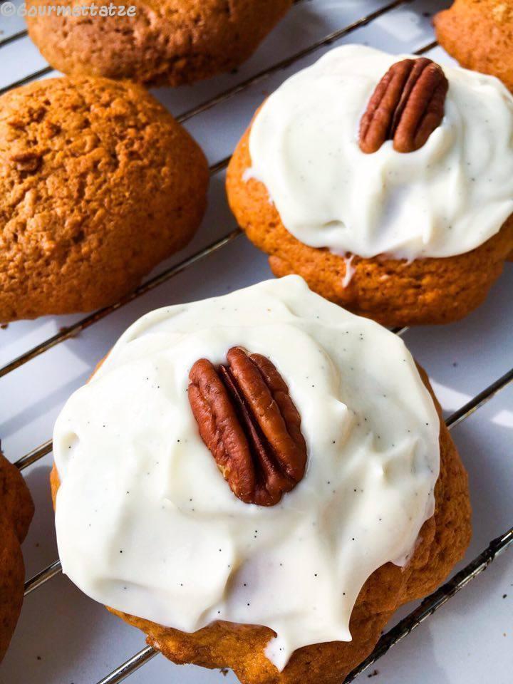 Rezept Süßkartoffel-Cookies mit einer Pekannuss-Vanille-Haube