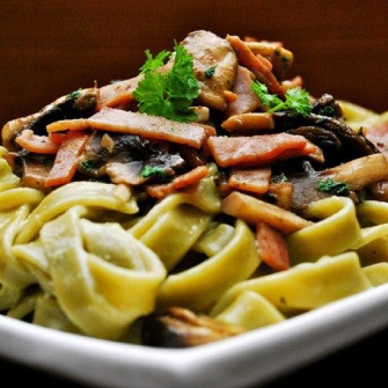 Rezept Tagliatelle in Sahnesauce mit Pilzen und Schinken