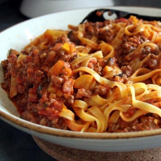 Rezept Tagliatelle mit Gemuese-Fleisch Sauce