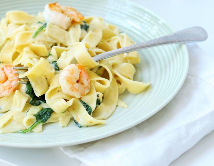 Rezept Tagliatelle mit Spinat & Garnelen