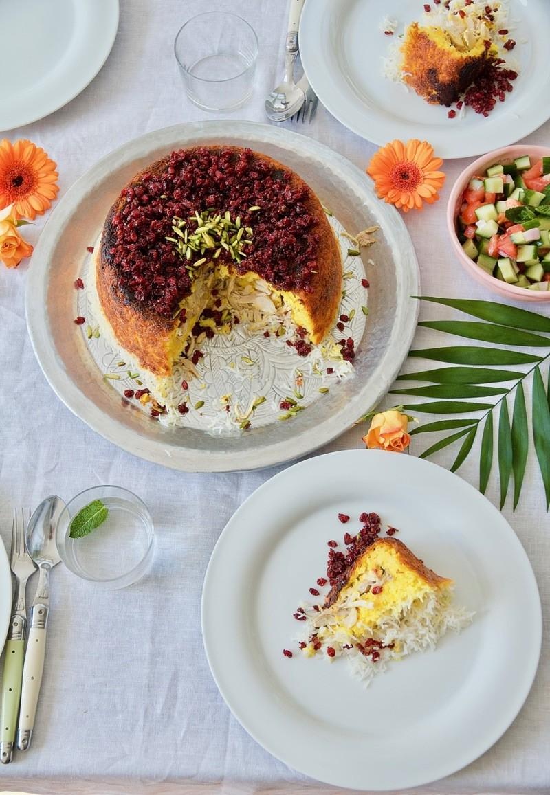 Rezept Tah-Chin-e Morgh - Safran Reiskuchen mit mariniertem Hühnchen