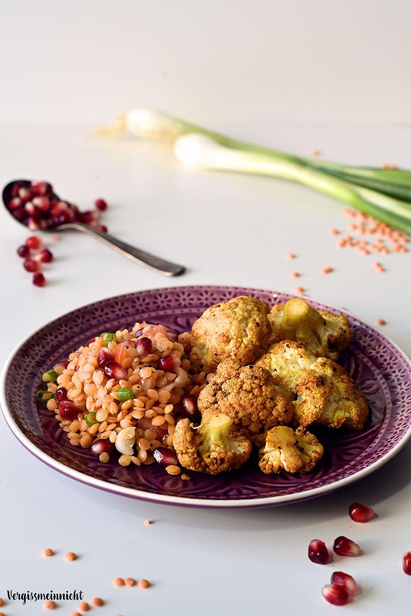 Rezept Tandoori Blumenkohl mit roten Linsensalat
