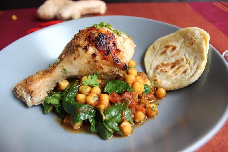 Rezept Tandoori-Chicken mit Kichererbsen-Spinat-Curry, Chapatis und Mango-Lassi
