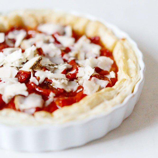 Rezept Tarte mit getrockneten Tomaten und Ziegenkäse