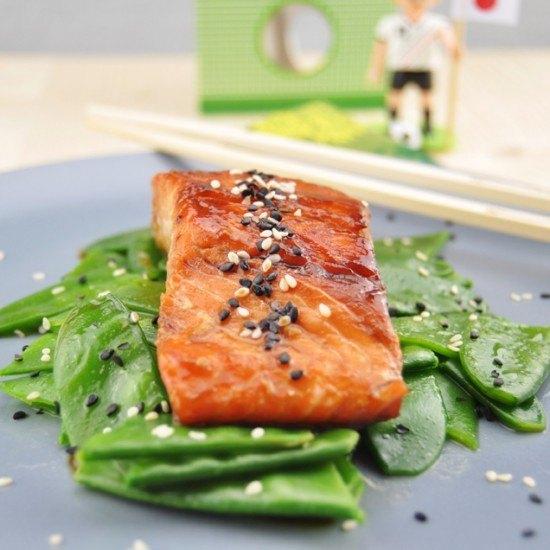 Rezept Teriyaki Lachs auf Sesam-Zuckerschoten