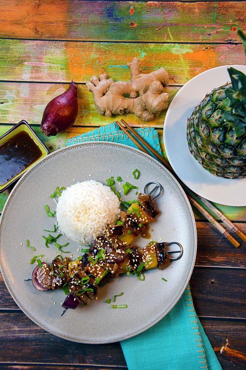 Rezept Teriyaki Rindfleisch Spieße mit Reis