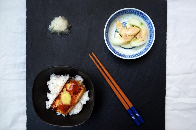 Rezept Teriyaki Tofu mit Miso-Gurken und Rettichsalat