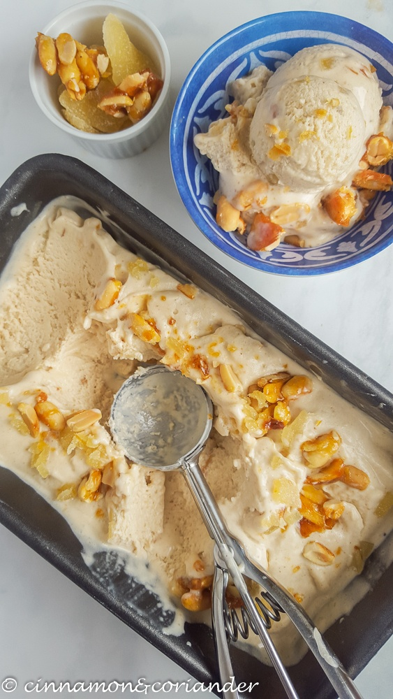 Rezept Thai Erdnuss Eis mit karamellisierten Erdnüssen & Ingwer