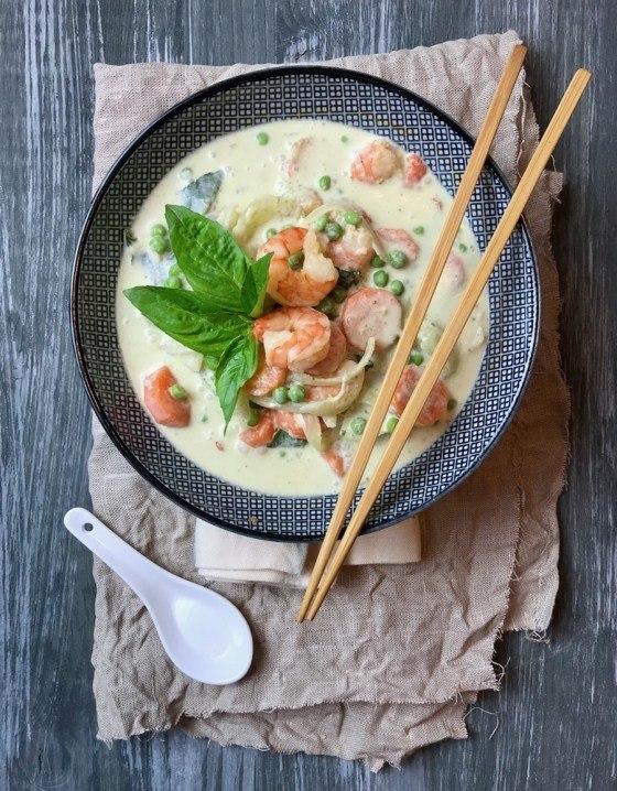 Rezept Thai Green Curry - grünes Thaicurry mit Garnelen