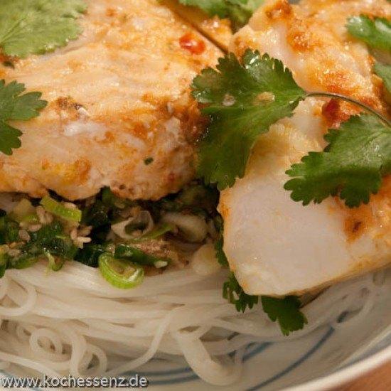 Rezept Thai-Schellfisch mit Reisnudeln
