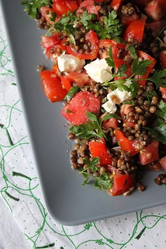 Rezept Tomaten-Linsensalat mit Wassermelone und Feta