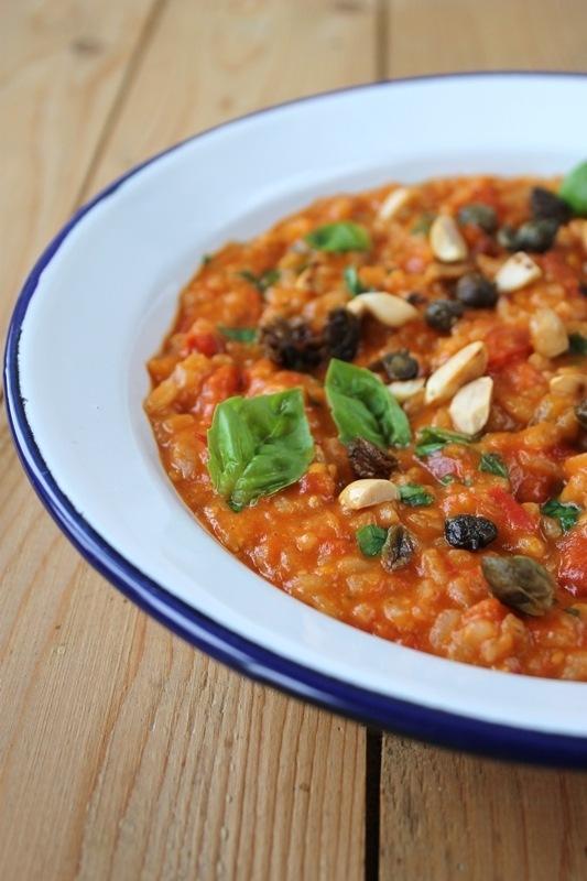 Rezept Tomatenrisotto mit Erdnüssen und frittierten Kapern