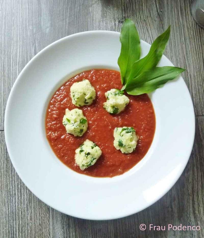 Rezept Tomatensuppe mit Bärlauchklößchen