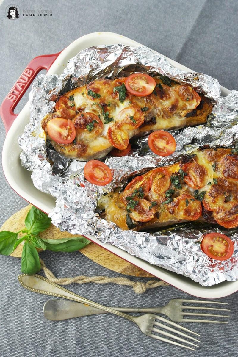 Rezept Überbackene Süßkartoffel mediterran mit Tomaten und Mozzarella