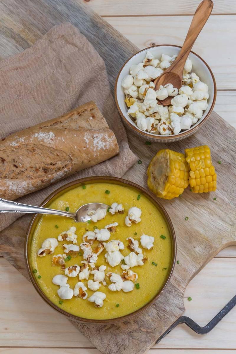Rezept Vegane Maiscremesuppe mit Popcorn