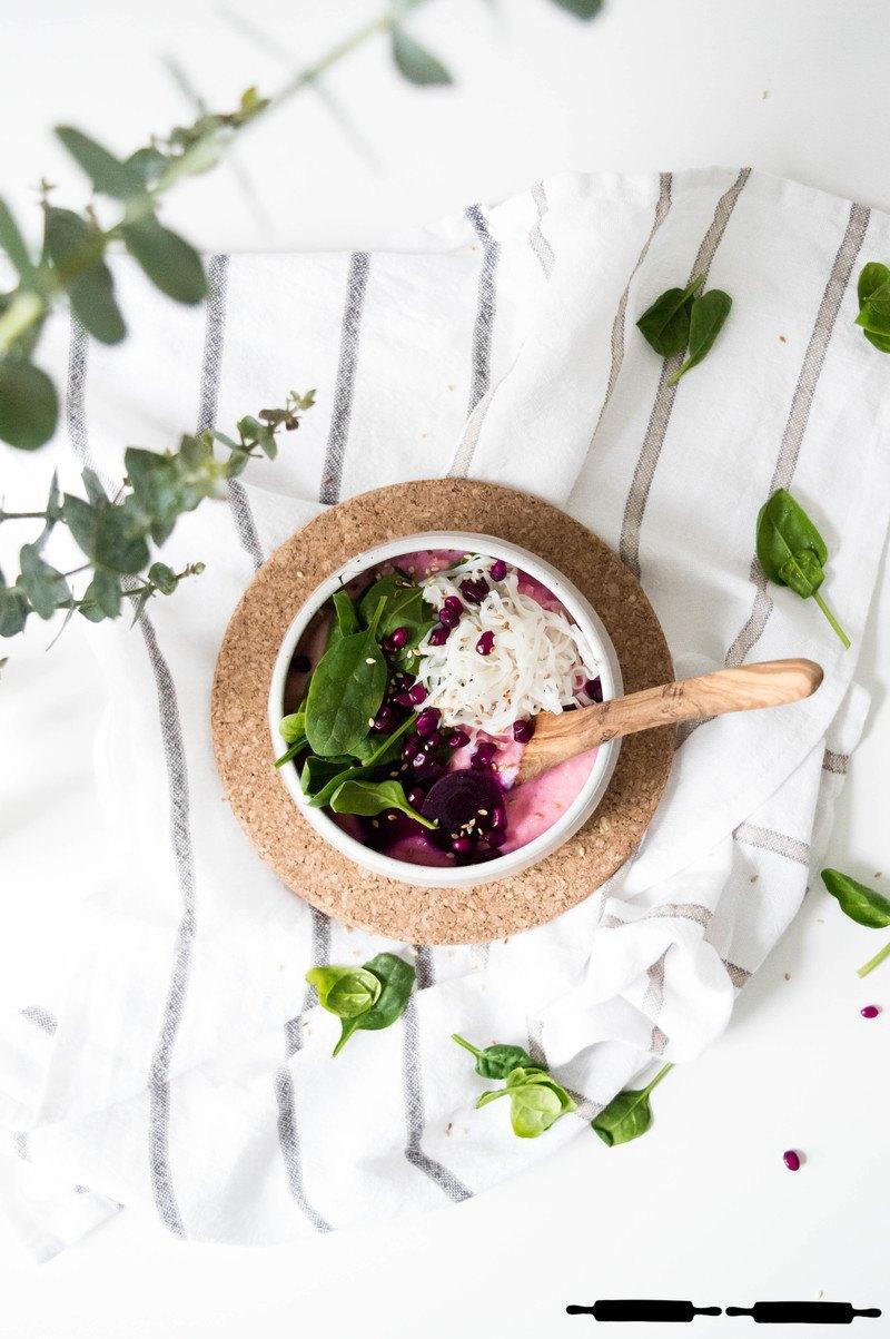 Rezept vegane rote Beete Suppe mit Blumenkohl
