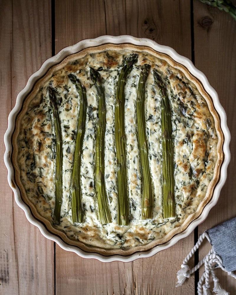 Rezept Vegane Spargel-Quiche mit Bärlauch