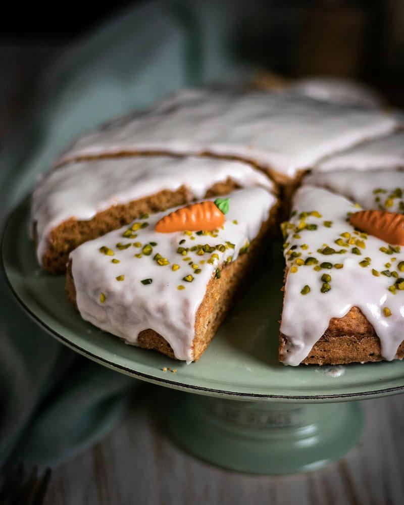 Rezept Veganer Möhrenkuchen ohne Nüsse | Karottenkuchen einfach gebacken