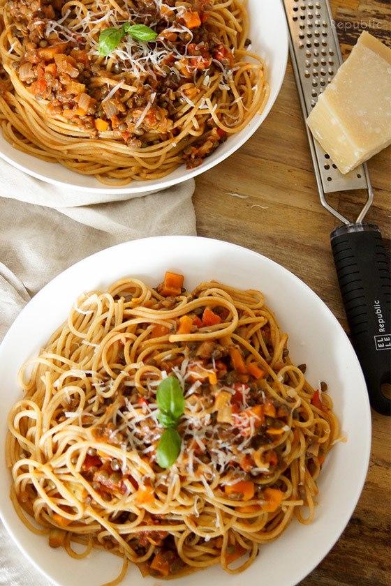 Rezept Vegetarische Linsen-Bolognese