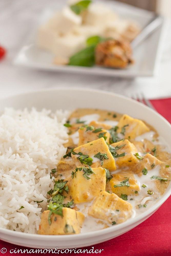 Rezept Vegetarisches Curry mit Paneer Käse, Joghurt & Mango Pickles { Achari Paneer }