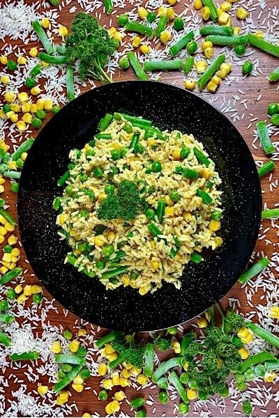 Rezept Vegetarisches Risi Bisi mit Erbsen und Bohnen