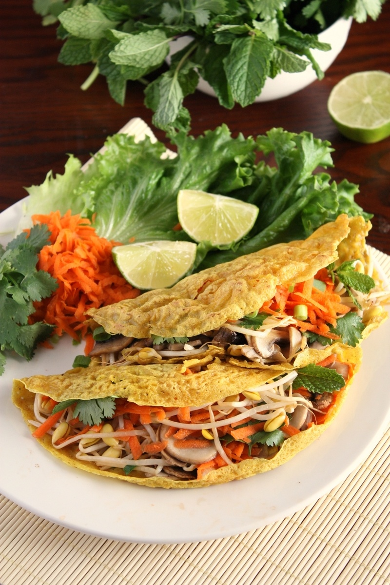 Rezept Vietnamesische Reismehl Crepes mit Gemüse (Vegan)