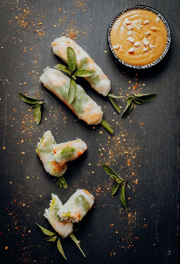 Rezept Vietnamesische Sommerrollen mit Erdnuss-Sauce
