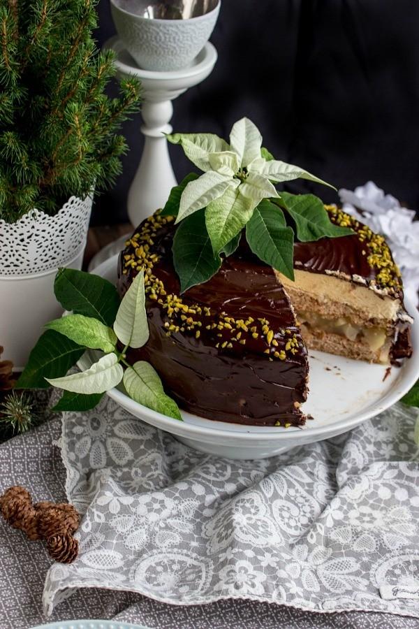 Rezept Walnuss-Birnen Torte mit Marzipanmousse