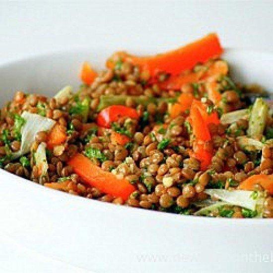 Rezept Warmer Linsensalat mit gegrillter Paprika und Frühlingszwiebeln