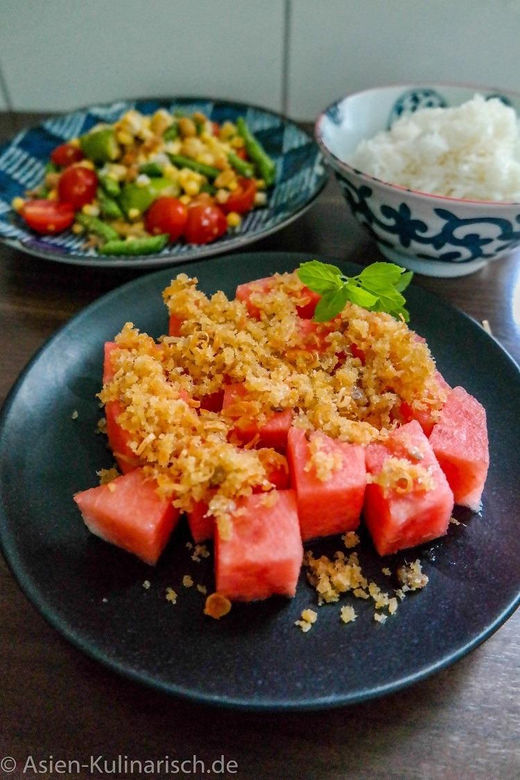Rezept Wassermelone mit Fischflakes