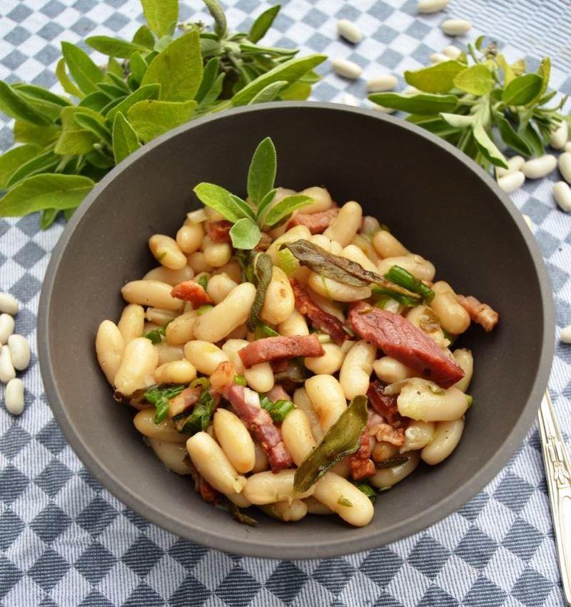 Rezept Weiße Bohnen Salat aus getrockneten Mogette de Vendée Bohnen