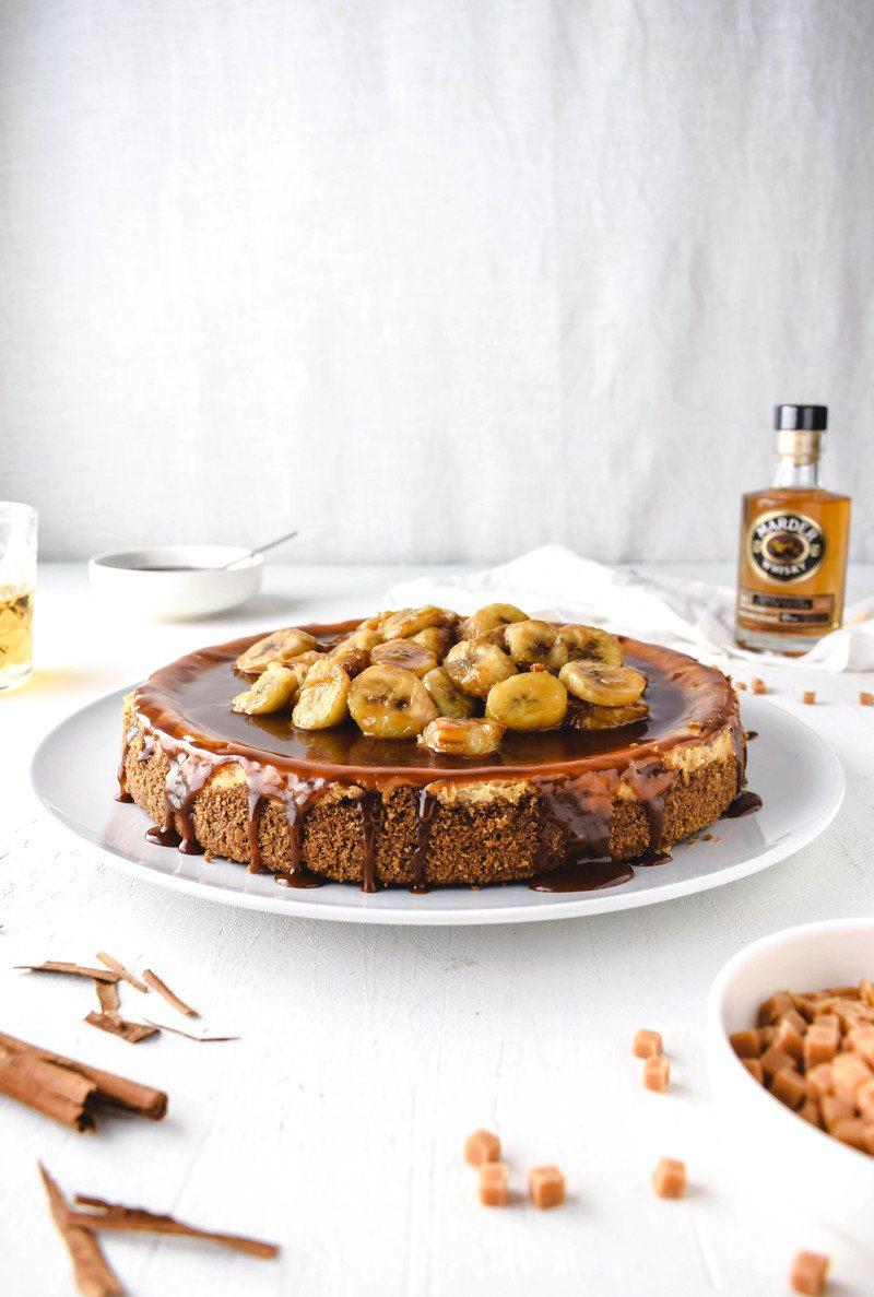 Rezept Whisky Käsekuchen mit Bananen und Karamell