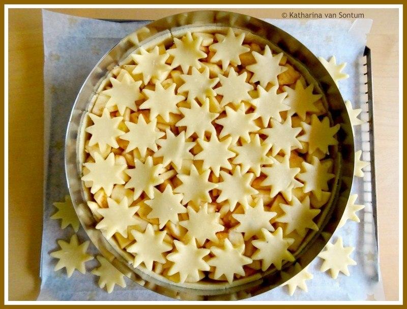 Rezept winterlicher Apfelkuchen mit Sternendecke