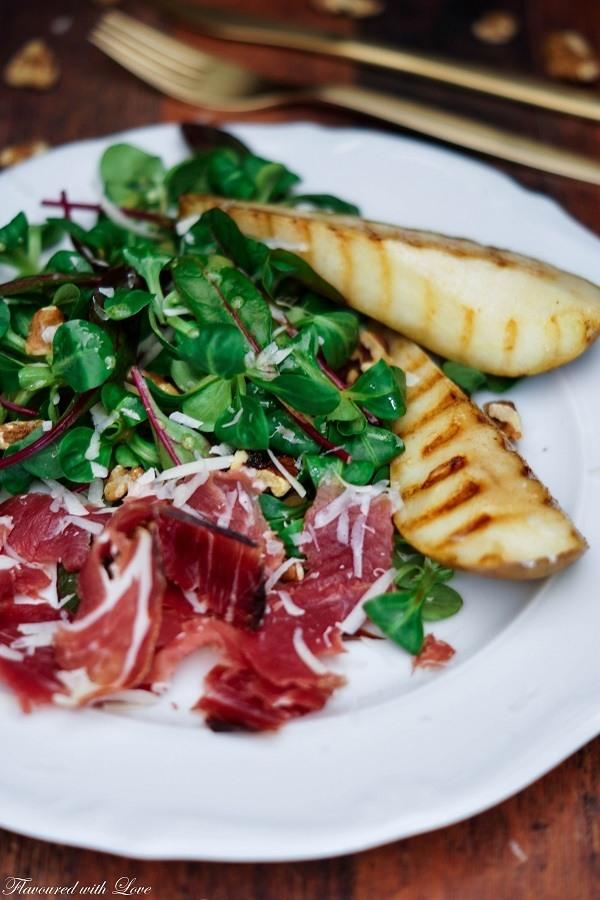 Rezept Wintersalat mit Berkshire-Schinken und gegrillter Birne